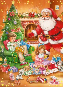 Traditional German Chocolate Advent Calendar Christmas Eve With Santa
